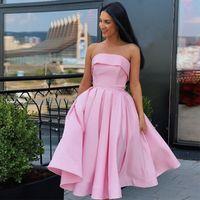 Trägerlose a-line rosa knielange homecoming dress kniellänge einfache champagner satin kurze dicker party kleider für teenageräte