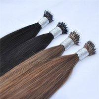 9A Grade Virgin Natürliche Farbe Nano Ring Haarverlängerungen Schwarz Dunkelbraun Londe Farben für Frauen, 0,8 g / s200s / lot