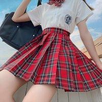 Red Gothic Pleated Japanese School Women Skirts Uniform High Waist Sexy Cute Mini Plaid Skirt Jk Students Clothes