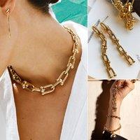 Luxury Brand Bracelet 2021 New Punk Jewelry Golden Horseshoe Buckle U Shape Link Necklace Anklet Earring Sets for Women