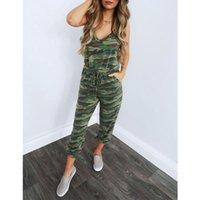 Женские комбинезоны Rompers Sexy Green Camouflage Print Womens Jumpsuit Tunic Toughsuit Летние спагетти ремешок без рукавов один кусок Outfit ST