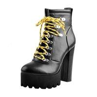 Chaussures habillées Botas Femininas de Salto Alto, Botas Plataforma Amarelo Com Alças, Bico Redondo, Present Para Esposa, Filha, Namorada, 3FUP