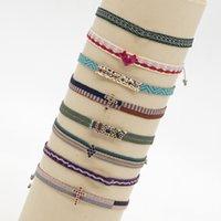 Kimter Handmade Weave Pattern Braccialetti per le donne Boemia vintage lucido cristallo cavigliera di cristallo etnico braccialetto di fascino boho gioielli B39a