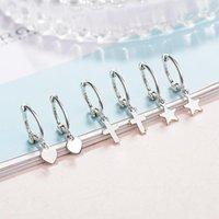 Dangle & Chandelier 925 Sterling Silver Star Heart Cross Metal Drop Earrings For Women Fashion Simple S925 Stamp Brincos Oorbellen Pendiente