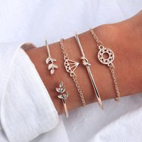 Bangle 4 Pcs Set Fashion Bohemia Leaf Knot Hand Cuff Link Chain Charm Bracelet For Women Gold Bracelets Femme Jewelry