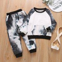 소년 넥타이 염료 양복 어린이 포켓 까마귀 긴 소매 까마귀 여자 색 옷 어린이 발굽 스웨터 어린이 2371 Q2