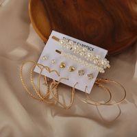Hoop & Huggie 6Pair Set Big Circle Gold Color Heart Simulated Pearl Earrings Set For Women Rhinestone Irregular Geometric Earings Jewelry 20