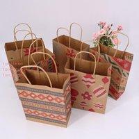 Christmas Kraft Paper Bags With Handle Snowflake Print Candy Chocolate Cookies Gift Bag Party Supplies Wedding Portable Favor Bag DBC VT1112