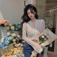 Coreano Cuello en V ONG de manga Top Hipster Hipster Ropa de mujer Primavera Autumn Cut Cut Black Blusas Sexy Club Slim Shirts Moda Ins