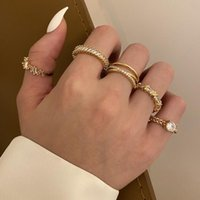 Cluster Rings Peri'sBox 5 Designs Zircon Adjustable Set Dainty Link Chain Double-Deck Pave Square CZ Open Finger Ring For Women