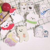 Women Girls Children White Cartoon Animal Acrylic Pin Custom Bear Rabbit Badge Brooch for Bag Clothes Lapel Brooches diy Jewelry