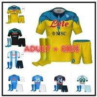 Kit para niños adultos 20 21 22 SSC Napoli Jerseys de fútbol Lozano Osimhen Insigne Camisa de Fútbol Maglia Mertens Verdi Milik 2021 2022 Maillots De Pie