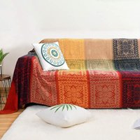 Blankets Bohemian Tribal Blanket Reversible Colorful Red Blue Boho Hippie Chenille Fabric Throw Covers Couch Sofa Chair Loveseat Recliner