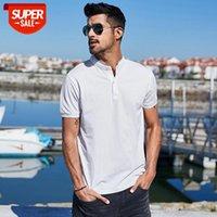 2021 100% хлопок мужские рубашки поло Летняя мода вместе стойки воротник с короткими рукавами полосыт мужчины топ плюс размер ZT-3356 # be8r