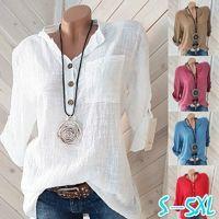 Women's Blouses & Shirts Oversized Women Cotton Linen Blouse Autumn Casual Long Sleeve Button V Neck Loose Shirt Lady Tops Plus Size S-5XL