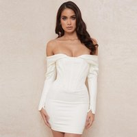 Casual Dresses Ocstrade Sexy Off Shoulder White Bandage Dress 2021 Autumn Women Long Sleeve Bodycon Club Night Party