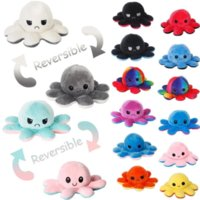 New!!! Reversible Flip Octopus Antistress Desktop Game Stuffed Soft Double-sided Expression Plush Toy Birthday Gift Doll New Year 2022
