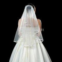 신부 베일 도매 간단한 흰색 아이보리 얇은 명주 그물 결혼식 두 레이어 리본 가장자리 사용자 정의 만든 액세서리