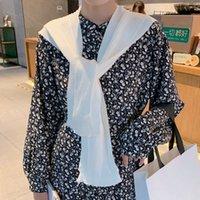 Bufandas ~ Conexión única Cape ~ 2021 Color puro coreano Pequeño fresco para mujeres en otoño e invierno