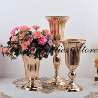 20/27 / 39 cm Altın Masa Vazo Metal Düğün Çiçek Masa Merkezi Mariage Çiçekler Vazolar Dekorasyon Parti için