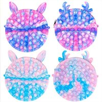 US STOCK Party Favor Rainbow Macaroon Fidget Bubble Chain Bag Purses Kids Boy Girls Novel Cool Design Fanny Pack Push Sensory Puzzle Toys Early Leaning Education