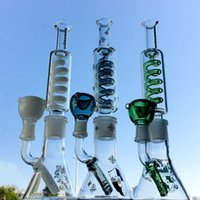 Condenser Coil 11 Inch Hookahs Freezable Glass Bongs Diffused Downstem Oil Dab Rigs Build a Bong Beaker Base Water Pipes 14mm Male Joint With Bowl And Keck Clip