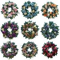 인공 분홍색 장미 화환 15 인치 프론트 문 화 환 수국 녹색 잎 화환 어머니의 날 웨딩 홈 장식 DWA4378