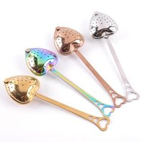 Stainless Strainer Heart Shaped tea infusers spoons teas Tools teas Filter Reusable Mesh Ball spoon Steeper Handle Shower SpoonsZC588