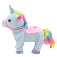 Elektronische Haustiere Reizende Spielzeug Nette Einhorn-Leine Pegasus-Puppe kann gehen und singen elektrische Drachenpferde-Plüsch-Kindergeschenke ZSJ67976