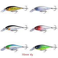 6 Color Mixed 75mm 6g Crank Hard Baits & Lures Fishing Hooks 6# Treble Hook Pesca Tackle Accessories WA_650