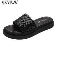 Wohdhe Mulheres Chinelos Grésos Bottom Weave Couro Beach Sapatos de Verão Aberto Toe Não-Slip Outdoor Spanking Cool 2021
