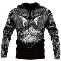 Women's Hoodies & Sweatshirts Autumn Fashion Hoodie Eagle Warrior Tattoo 3D Fully Printed Men's Zip Unisex Streetwear Harajuku Casual Sweats