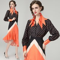 High-end Trend Womens Two Piece Set Shirt+skirt Long Sleeve Spring Autumn Dot Printed Ruffles Sets Fashion Noble Lady Blouse Skirt Suits
