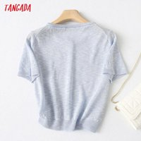 Women's Knits Tees Tangada Summer Women Thin Cardigan Sweater Jumper Vintage Short Sleeve Tops Button-up Female Outerwear