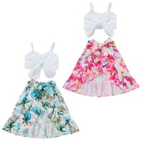 kids Clothing Sets girls outfits Children Bow Sling Tops+Tie dye printing skirts 2pcs set summer fashion Boutique baby Clothes Z3438