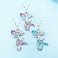 Moda Unicorn Kitty Mermaid Kolye Bilezik Uzun Kolye Çocuklar Kızlar Kızlar için Büyüleyici Kolye Kolye Kesim Takı