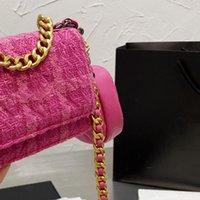 مصمم النساء تويد حقيبة كتف كروسبودي 2021 باريس ماركة أزياء ووك 19s العلم حقائب اليد امرأة الصوف houndstooth حقيبة مع عملة محفظة مصممي أكياس المصممين