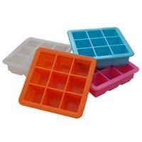 9 شبكة بار سيليكون علبة الجليد مع غطاء diy العفن الطفل الغذاء ملحق مربع لوازم المطبخ قوالب مكعب صانع GWF5874
