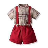 Baby Clothing Sets Boys Suits Kids Clothes Summer Cotton Short Sleeve Shirts Suspender Shorts 2Pcs Child Outfits 0-6Y B5434