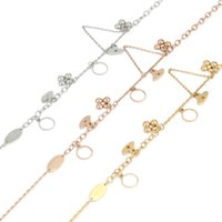 arrival lover bracelet flower letter charm bracelet stainless steel gold rose sliver 3 color charming bangle for mother gift