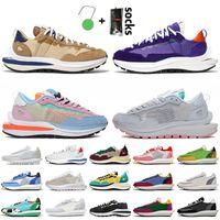 2021 Nike Sacais VaporWaffle Chaussures de course LD Waffle Femmes Hommes Baskets Iris Foncé Sésame Bleu Void Chunky Dunky Nylon Blanc Noir Jogging Baskets De Sport