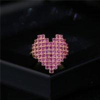 여자를위한 큐빅 지르콘 다이아몬드 심장 반지 밴드 손가락 18K 골드 조정 가능한 반지 약혼 결혼 선물 패션 쥬얼리 윌과 샌디