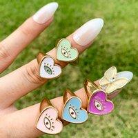 Cluster Rings Y2K Colorful Drip Oil Enamel Love Heart Couple For Women Men Punk Gold Metal Evil Eyes Finger Ring Trendy Jewelry