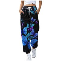 Women's Leggings Women Butterfly Print Pants Harajuku Joggers Wide Leg Sweatpants Trousers Elastic High Waist Streetwear Casual Pant