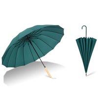 طويل مستقيم عرقوب مظلة 16 كيلو قوي يندبروف pongee umbrellas الصلبة اللون للجنسين مشمس المطر شبه التلقائي bumbershoot gwf8211