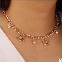 Colar de pingente de cristal de cor do vintage cor de ouro para mulheres menina de metal chunky cadeia curto corijantes colares jóias festejas