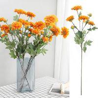 Decorative Flowers & Wreaths 1Pc 6-Head Artificial Fake Flower Non-woven Cloth Bendable Dahlia Wedding Party Home Desktop Decoration Table O
