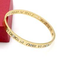 Moda Nuevo acero inoxidable romano con pulsera de diamante Joyas de joyería 18k Rose Gold Plate Brazaletes Pulseras para mujeres Amor Pulsera Fino ancho