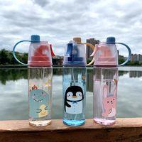Tiktok 2021 الأزياء الكرتون رذاذ زجاجة المياه الرياضية 600 ملليلتر سعة كبيرة الكبار أطفال في الهواء الطلق الرياضة الشرب كوب drinkware FY4135