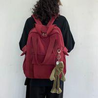 Backpack Women'S Waterproof Nylon Solid Student Simple School Bag For Teenage Girl Shoulder Travel